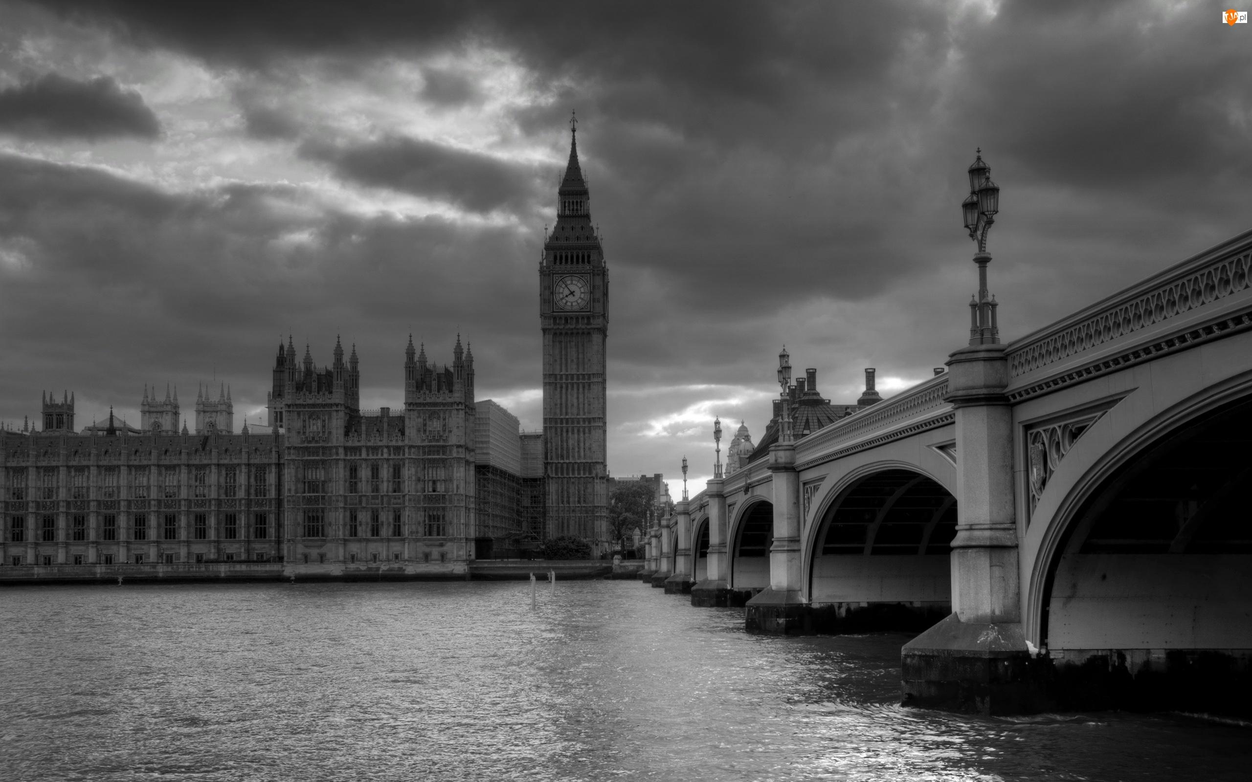 Big Ben, Rzeka Tamiza, Anglia, Czarno-białe, Londyn, Most Westminsterski