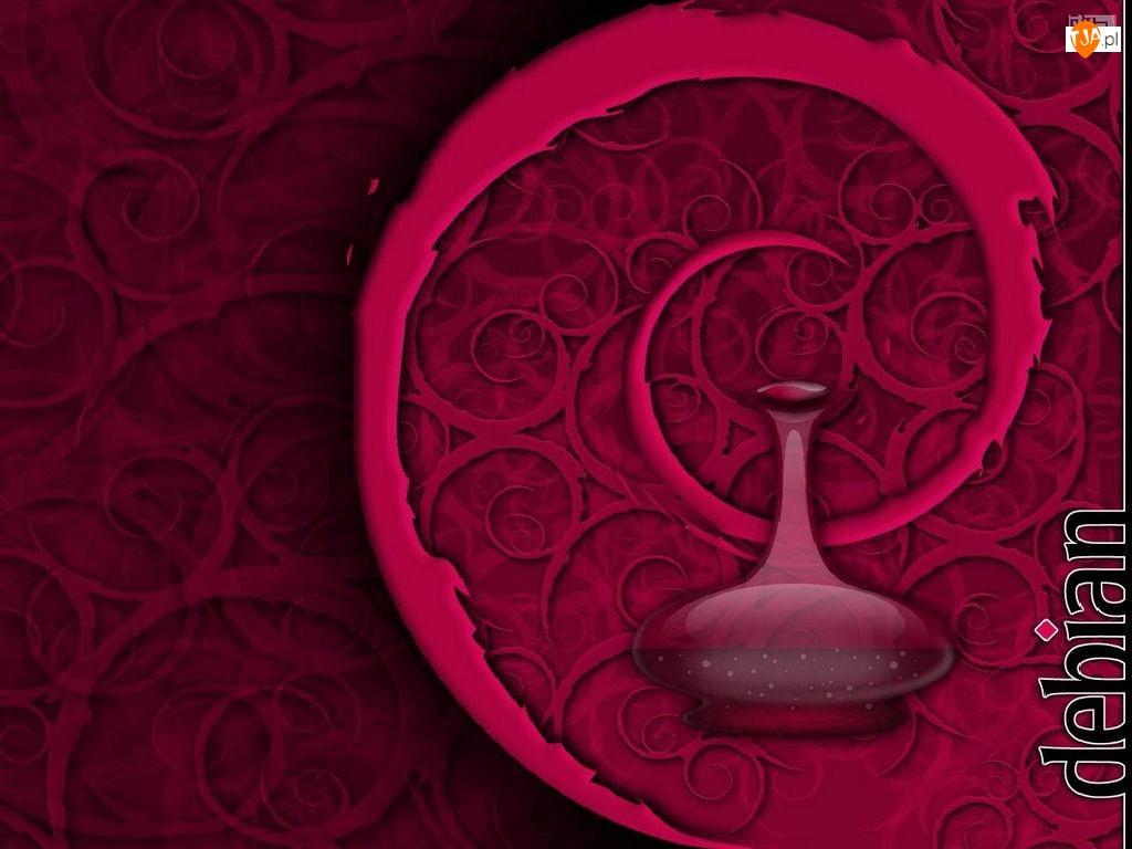 zawijas, grafika, Linux Debian, butelka, ślimak, muszla