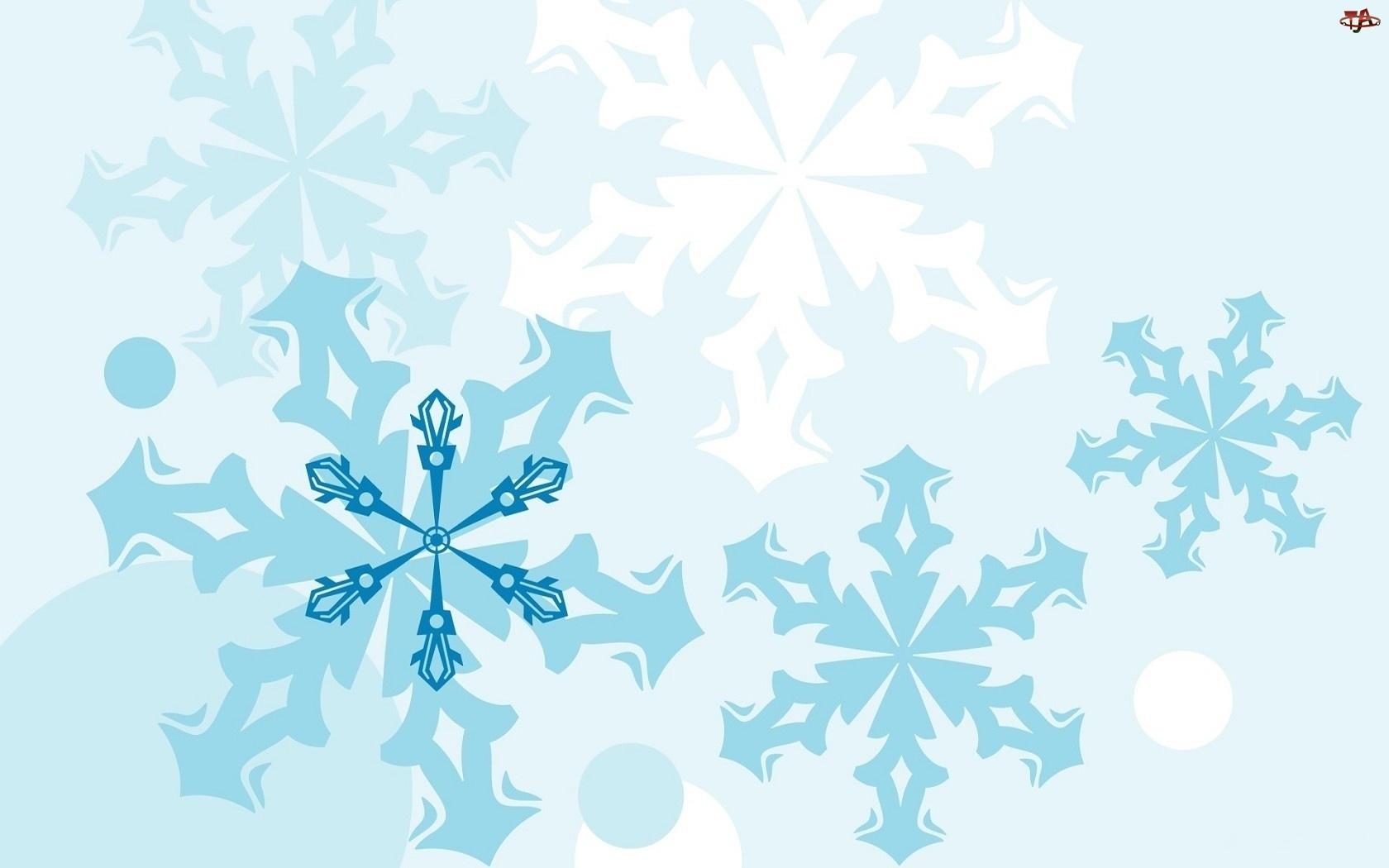 Płatki, Białe, Śniegu, Niebieskie