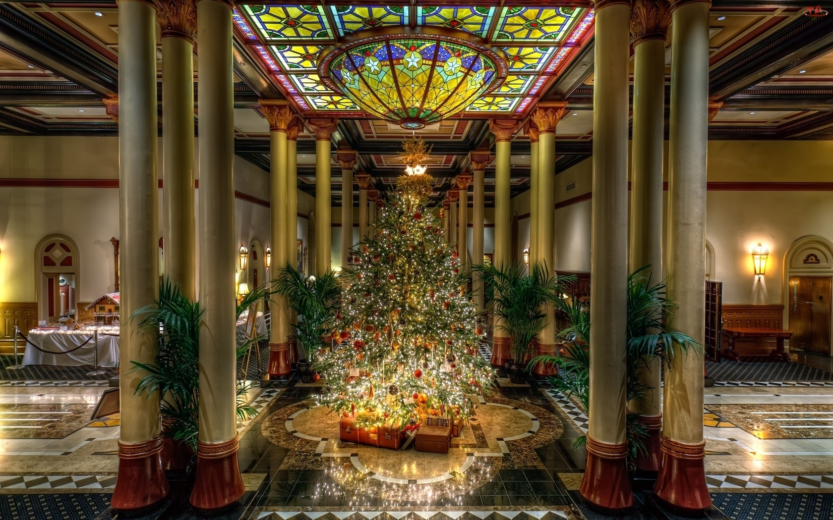 Hotel, Piękna, Duża, Choinka