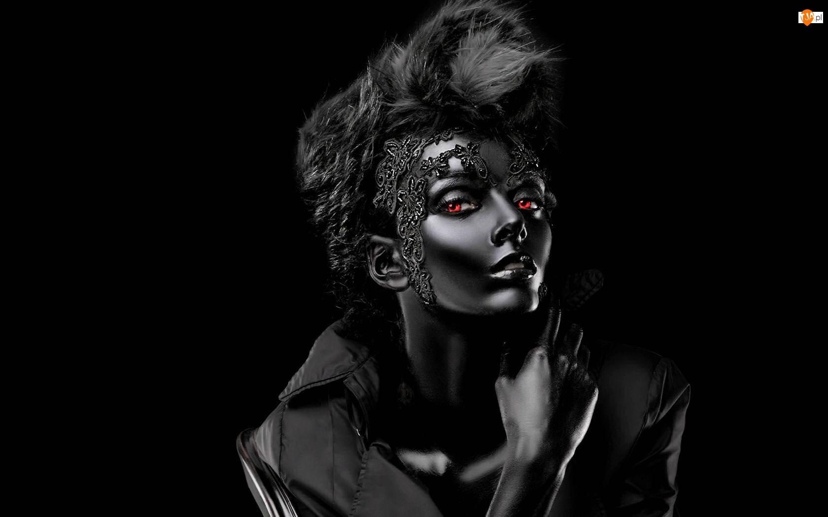 Kobieta, Oczy, Czerń, Czerwone