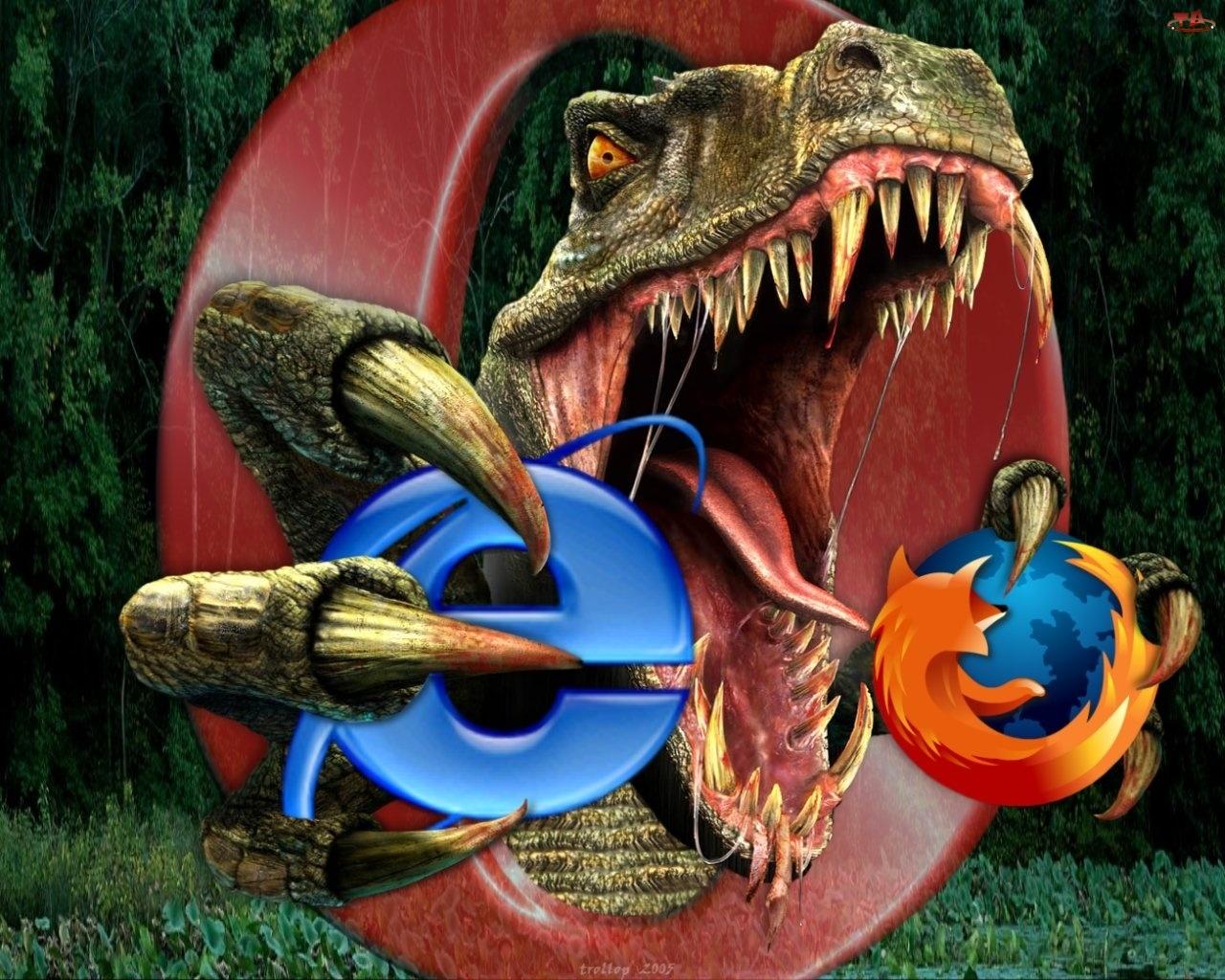 Dinozaur, Opera, FireFox, Internet Explorer