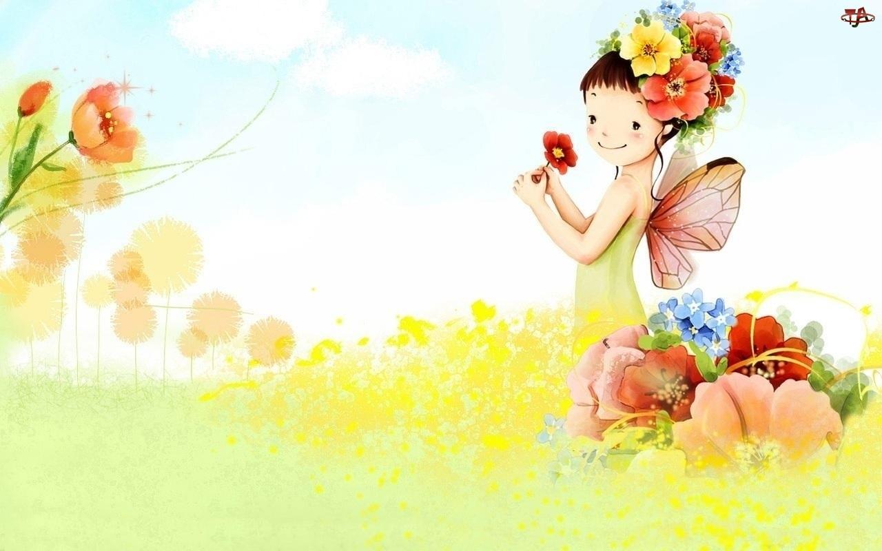 Łąka, Fantasy, Dziecko, Motyl