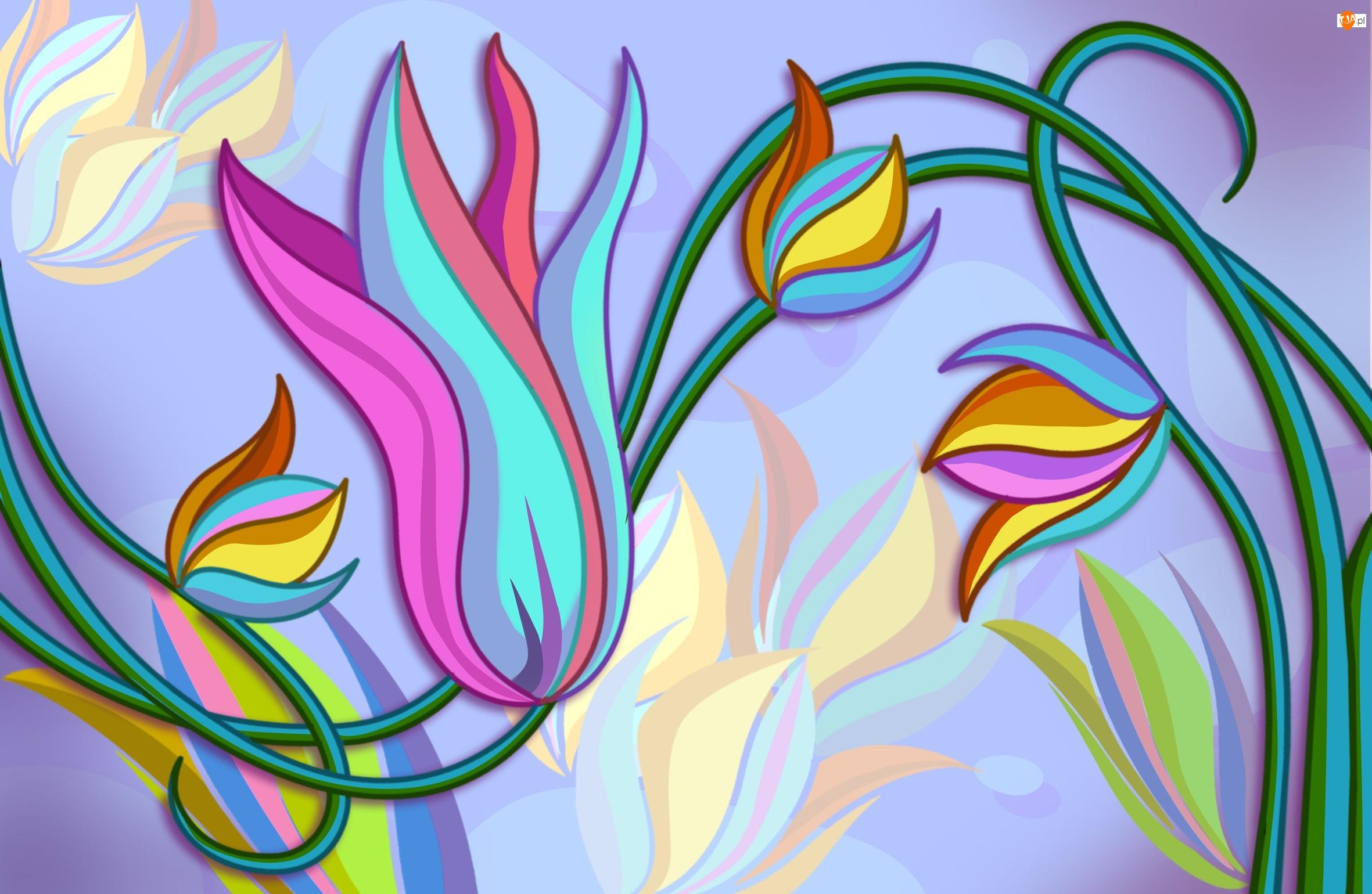Wektorowe, Kolorowe, Tulipany
