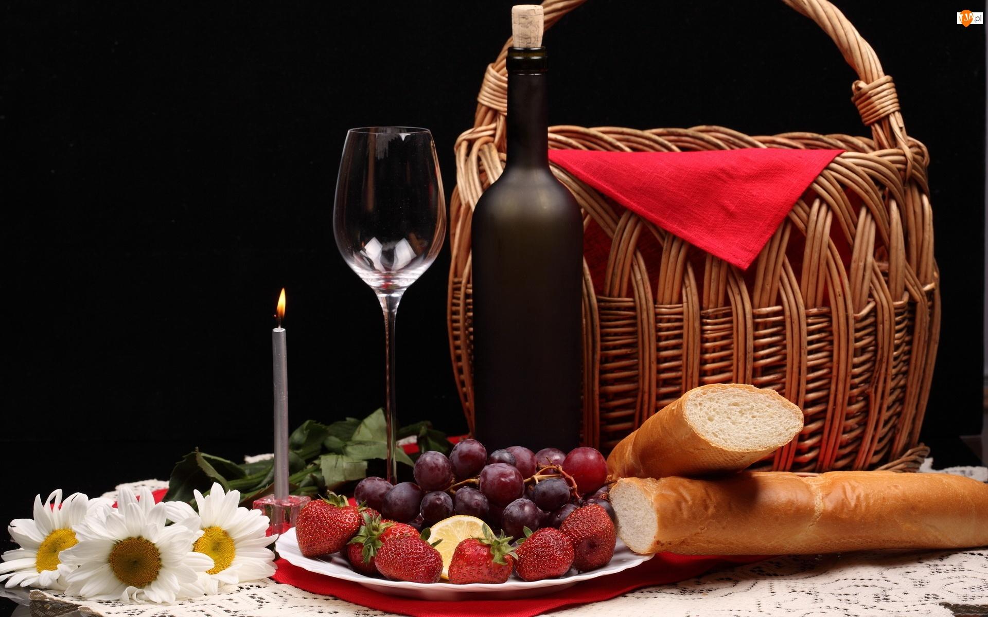 Kieliszki, Koszyk, Wino, Owoce