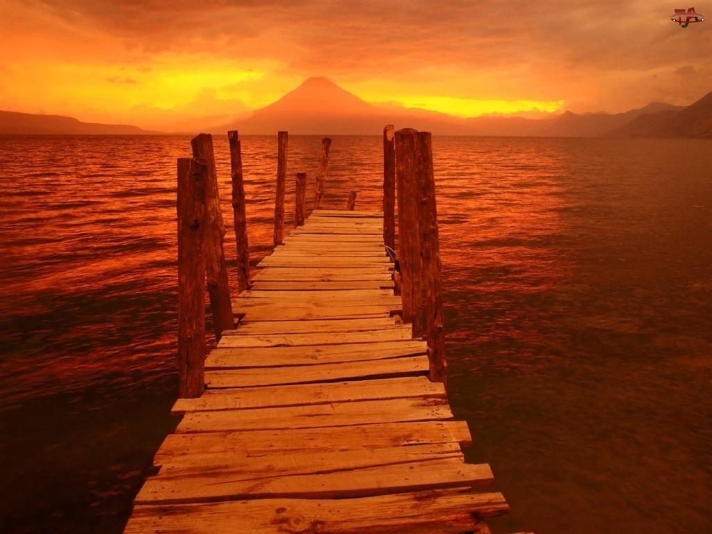 Zachód, Pomost, Słońca, Jezioro