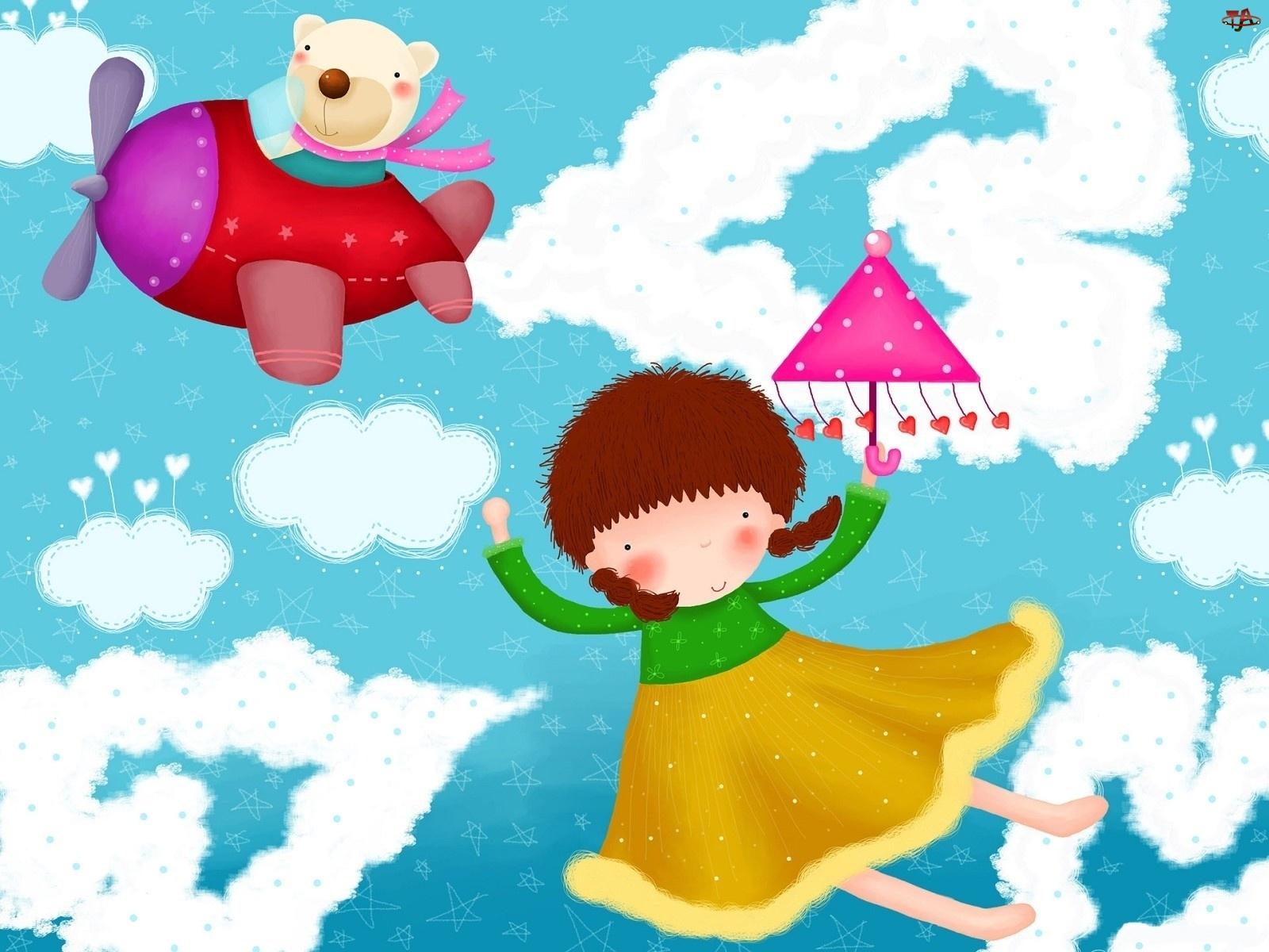 Dziecko, Parasol, Misiu, Samolot