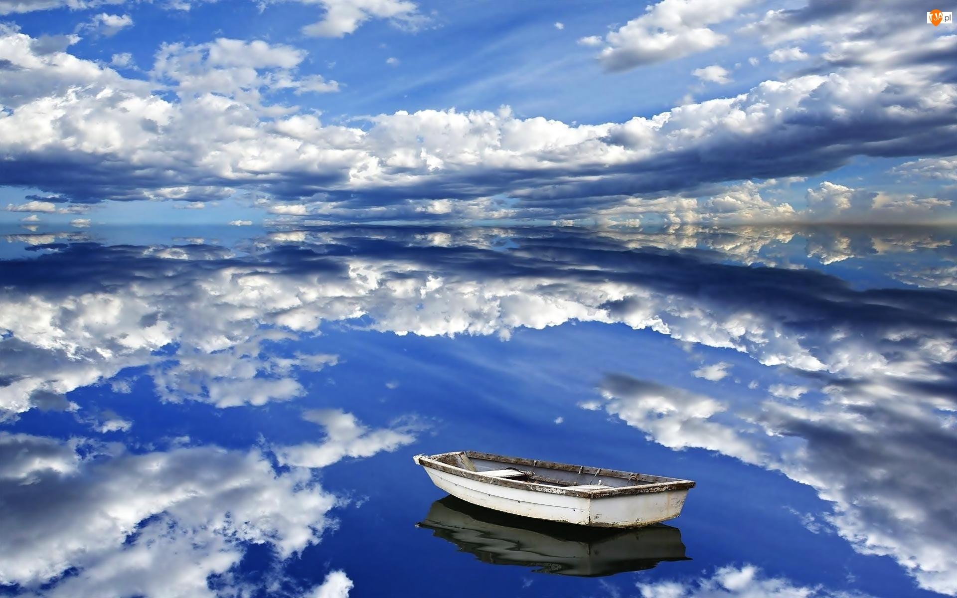 Odbicie, Chmury, Jezioro, Niebo, Łódka