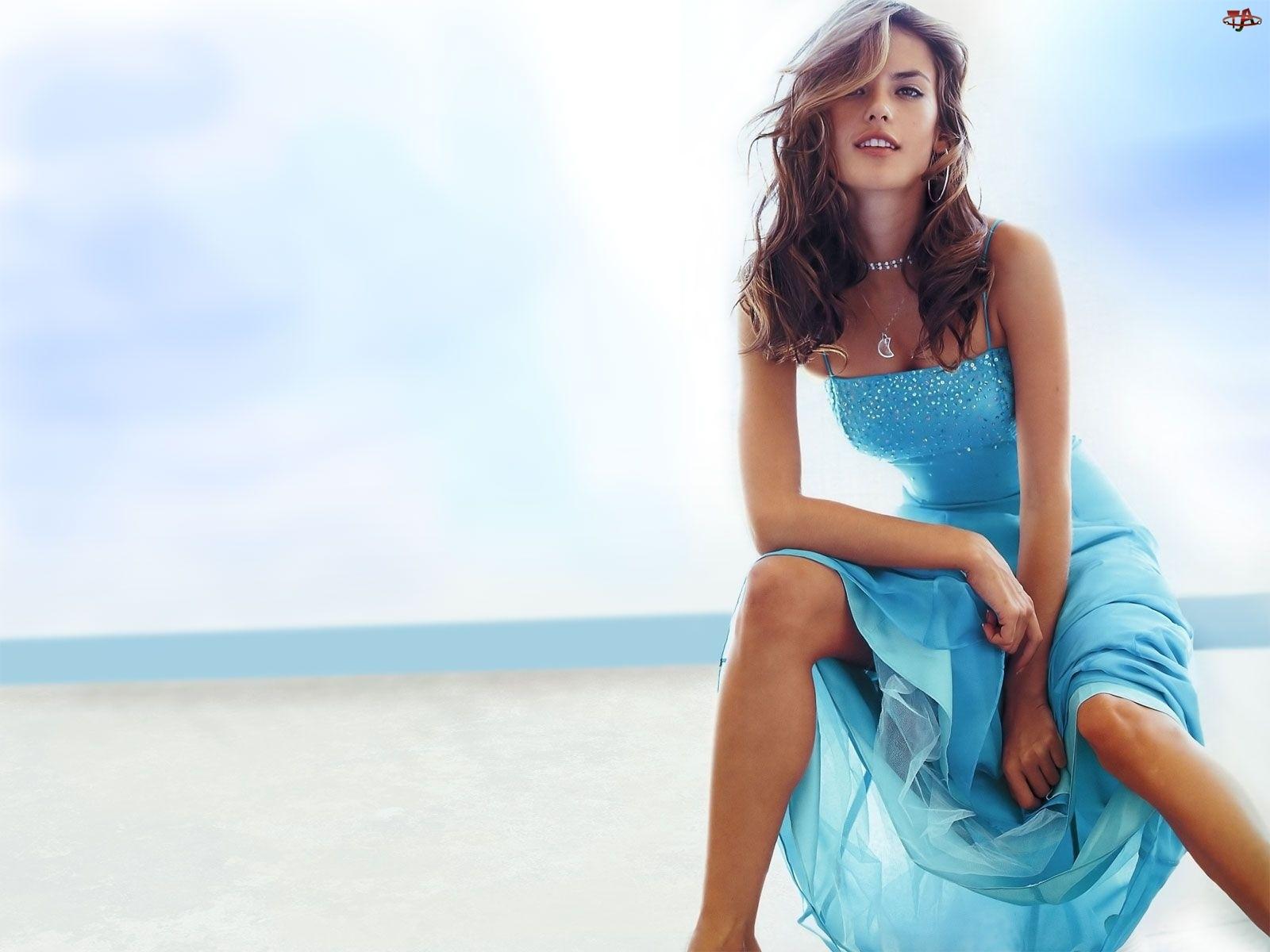Sukienka, Alessandra Ambrosio, Plaża, Modelka, Niebieska