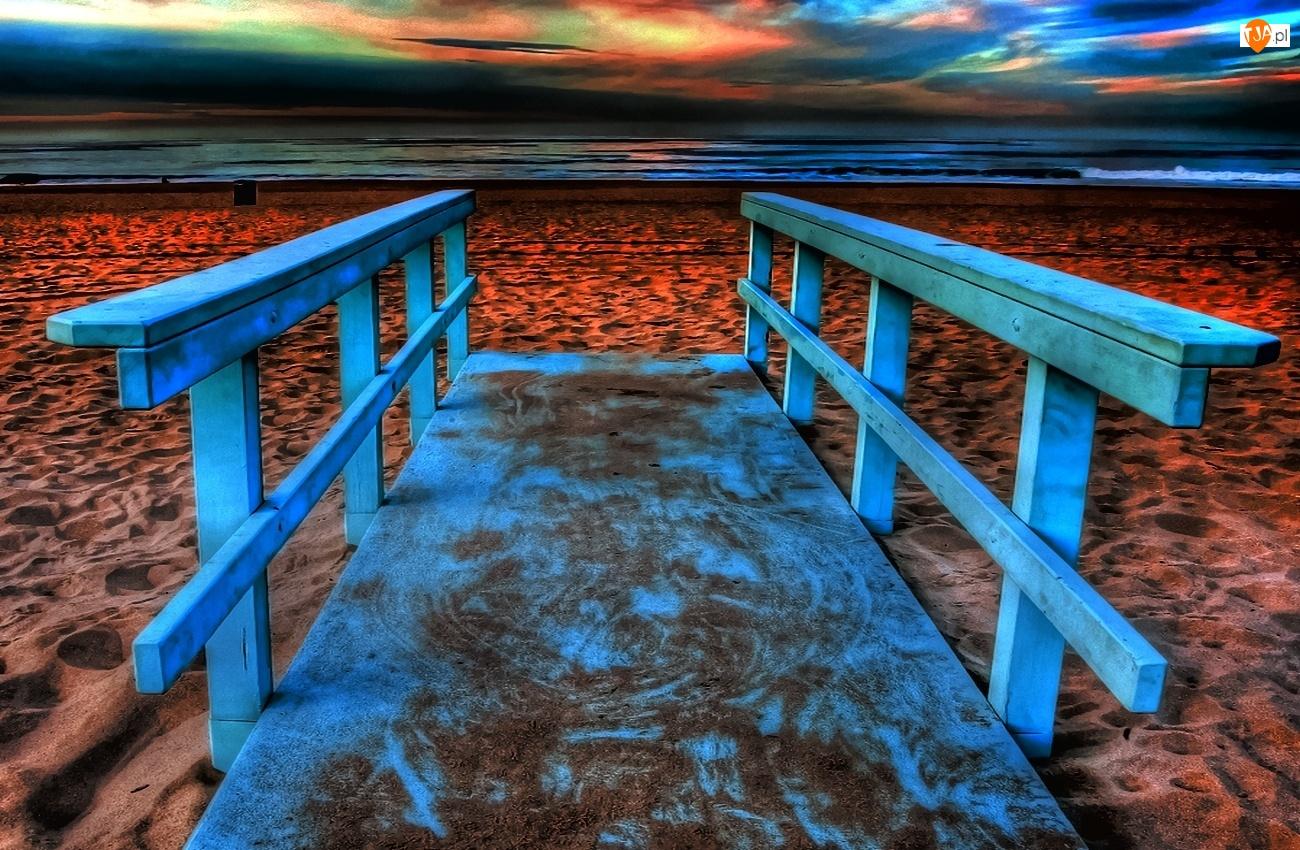 Morze, Mostek, Plaża, Niebieski
