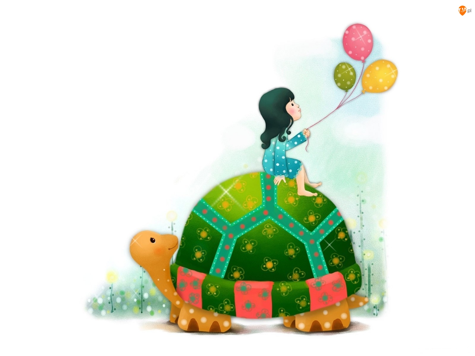 Dziecko, Balony, Kolorowy, Żółw