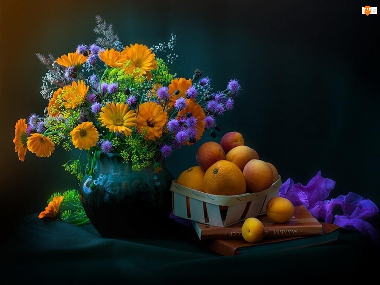 Owoce, Wazon, Kwiaty