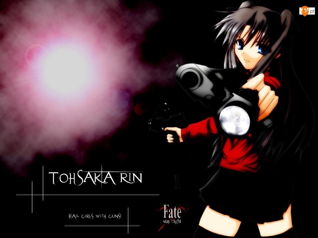 dym, Fate Stay Night, pistolet, dziewczna, napis