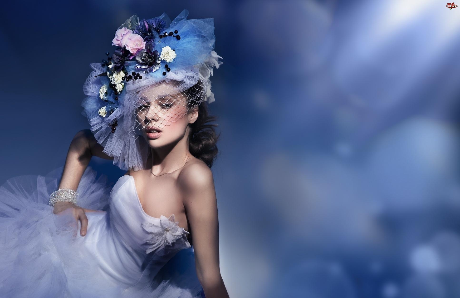 Kobieta, Kwiaty, Makijaż, Stroik