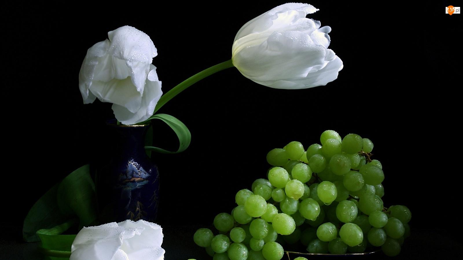 Białe, Winogrona, Tulipany, Zielone