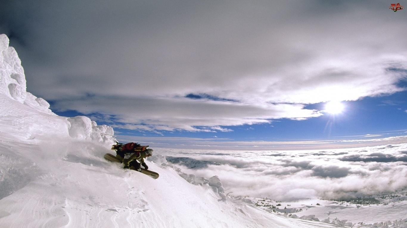 Snowboard, Śnieg, Stok, Chmury