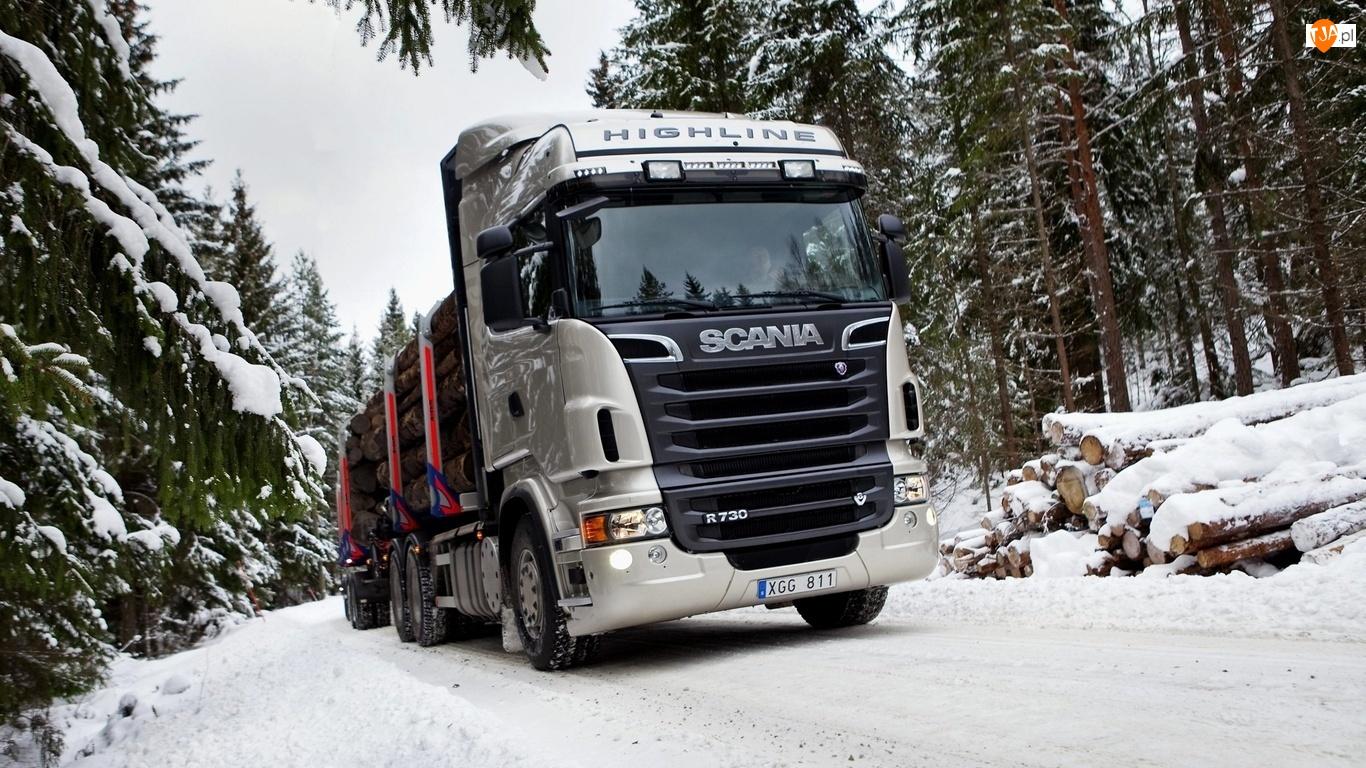Scania R730, Śnieg, Ciężarówka, Drewno