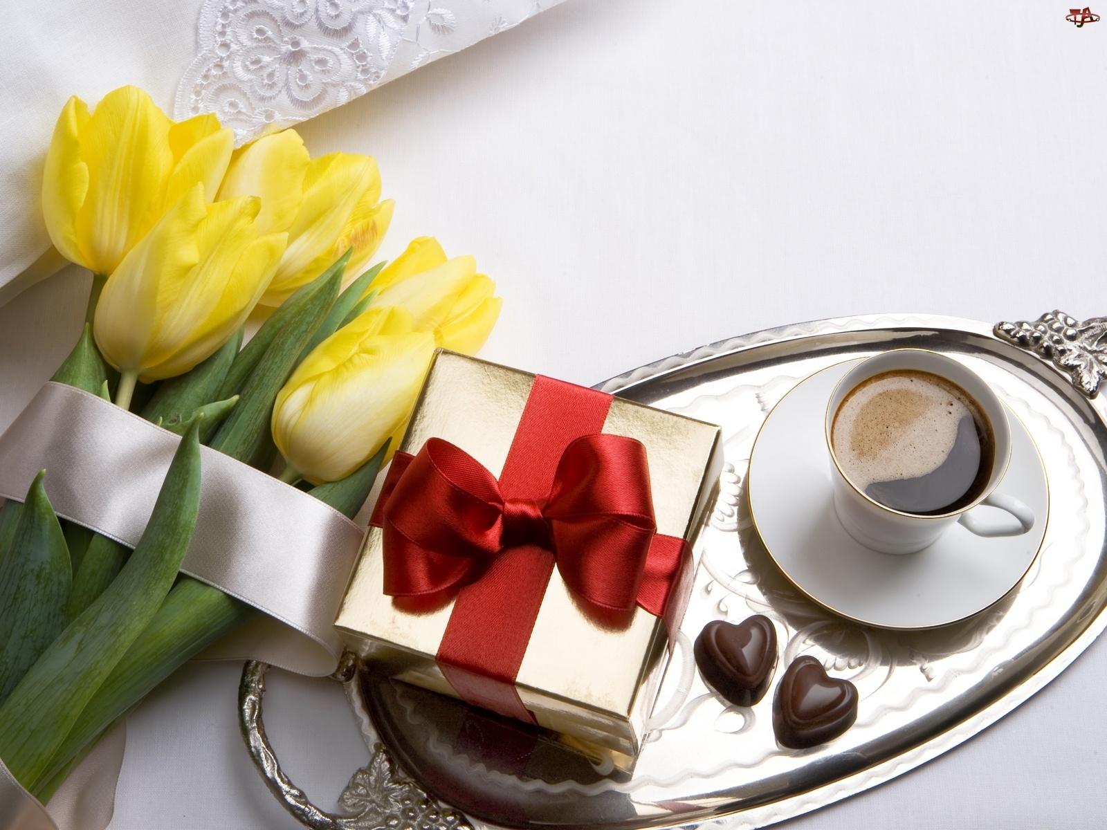 Żółte, Prezencik, Tulipany, Kawa