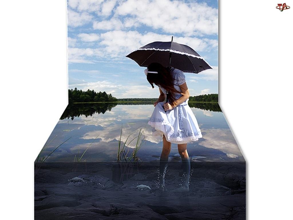 Dziewczynka, Grafika 4D, Parasol, Woda