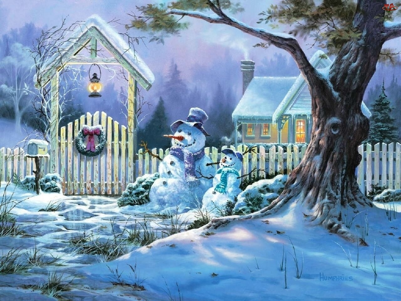 Święta, Bałwanki, Stroik, Śnieg