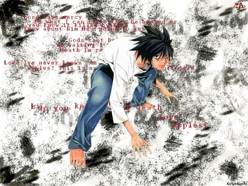 Death Note, napisy, chłopak, stopy