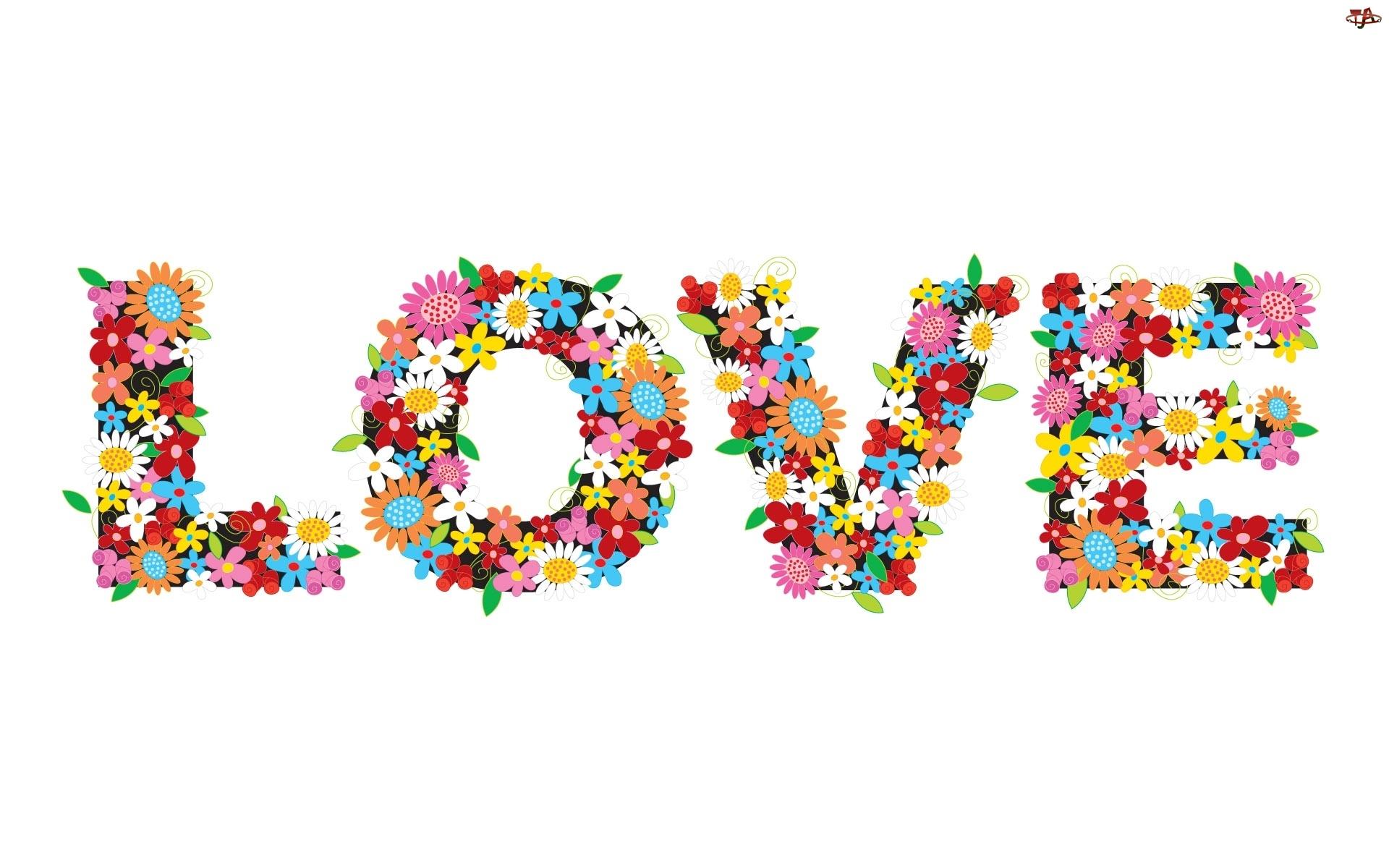 Love, Kwiatuszki, Napis