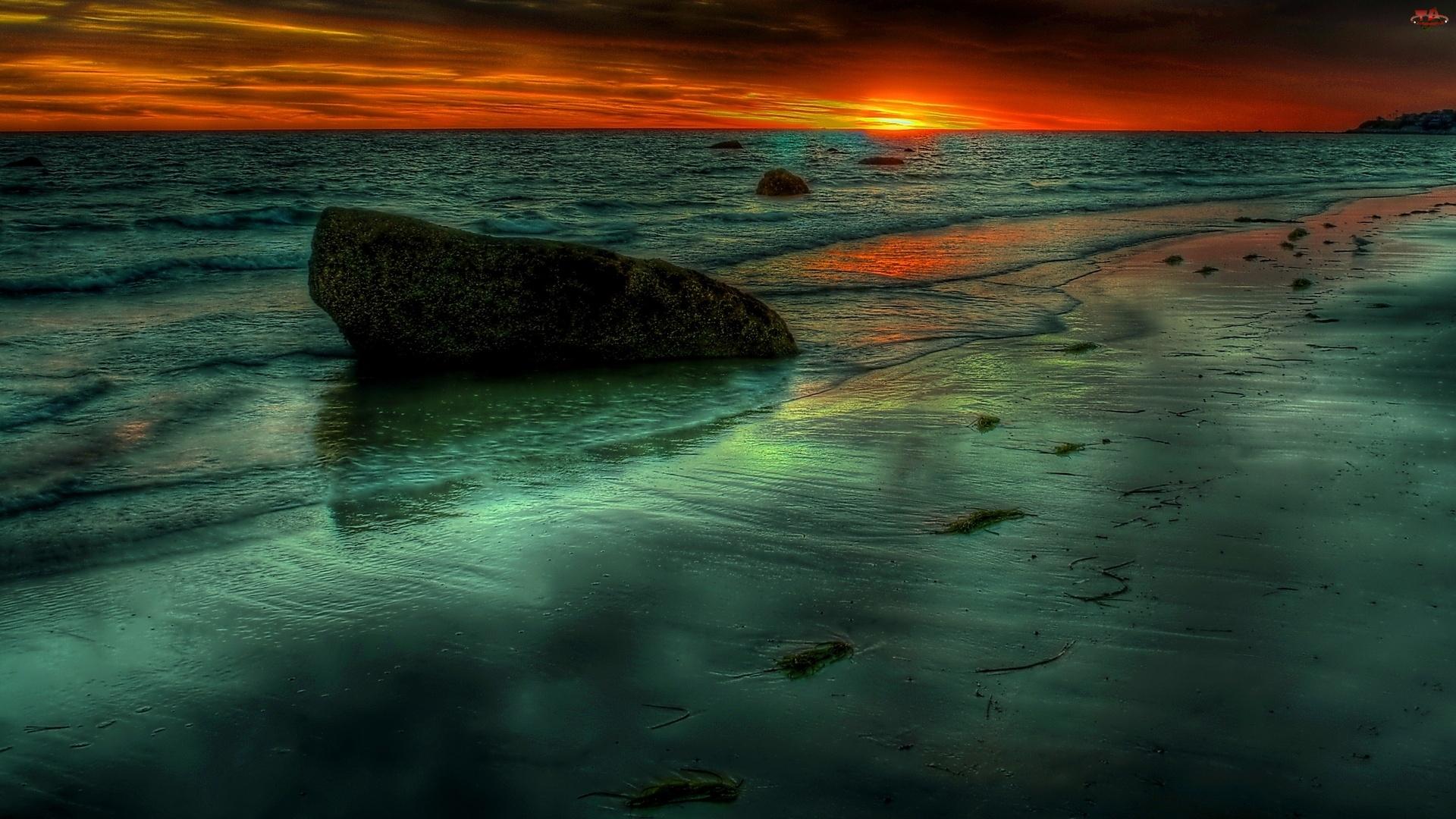 Słońca, Plaża, Kamień, Morze, Zachód