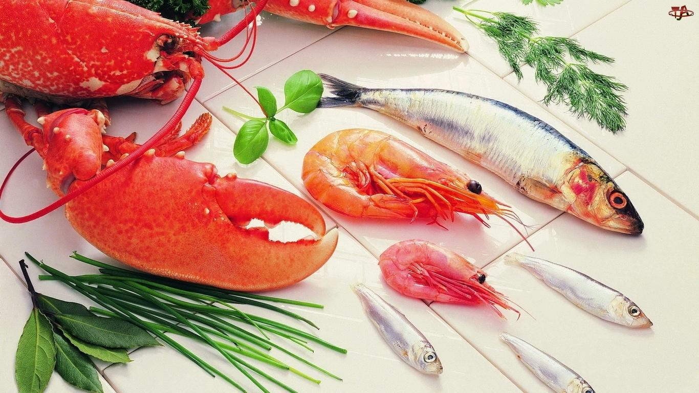 Owoce, Krewetki, Morza, Ryby