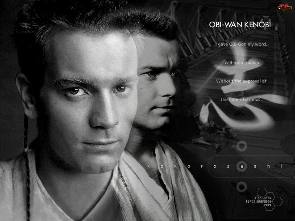 twarz, znak, Star Wars, chiński, Ewan McGregor