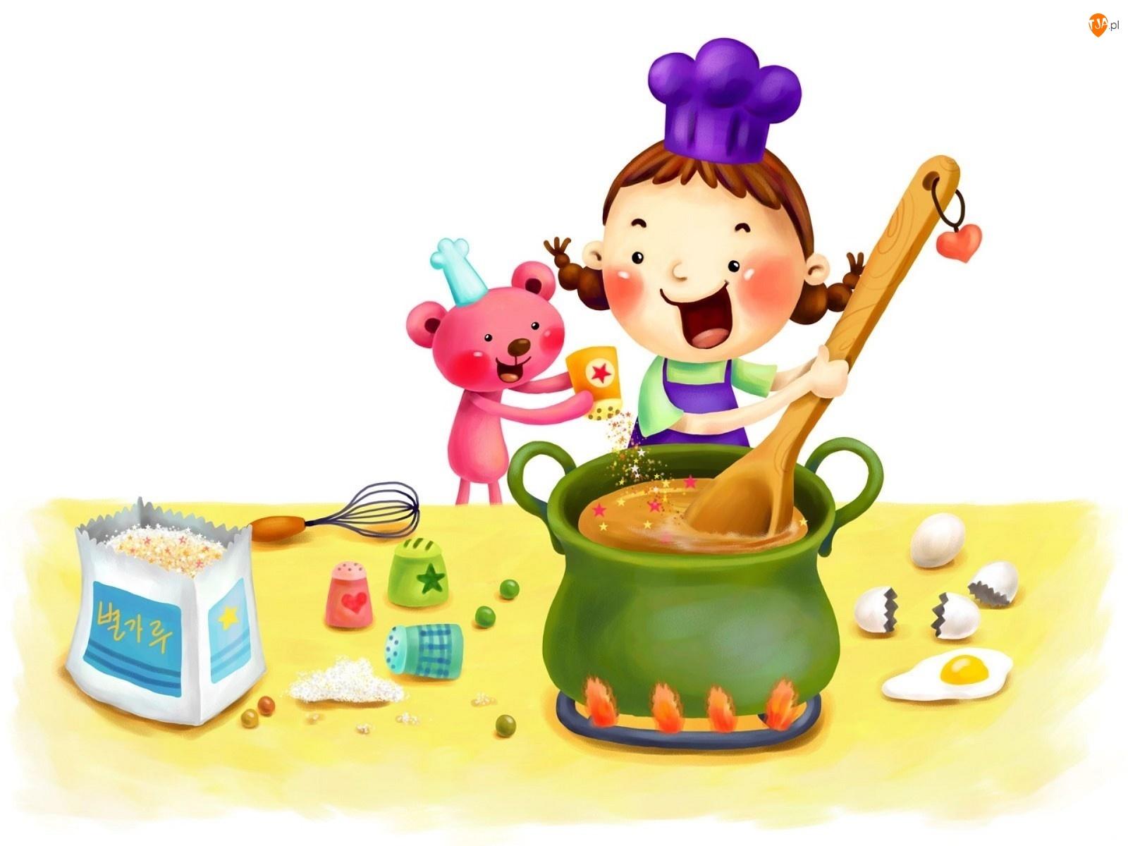 Gotowanie, Dziecko, Misiu