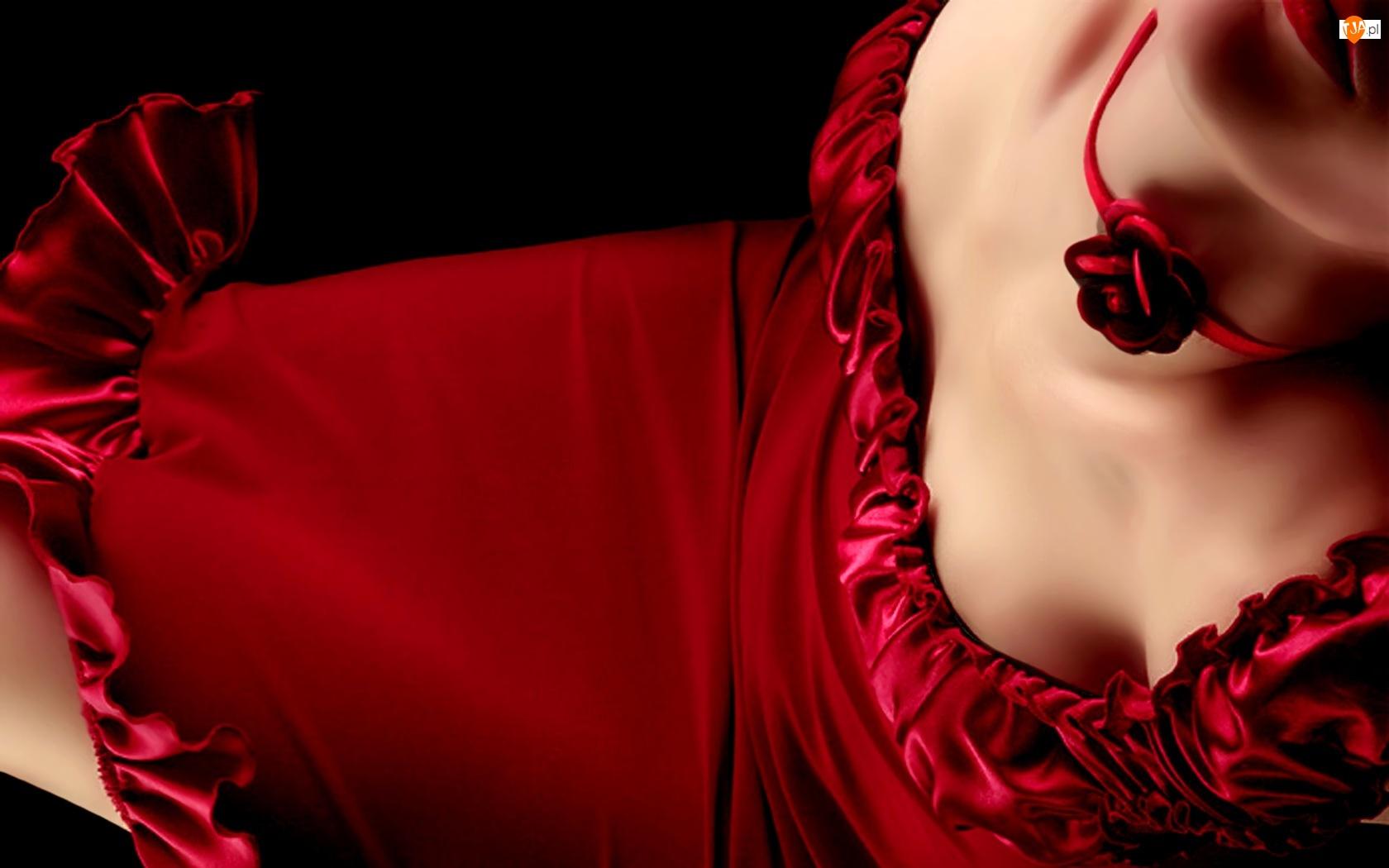 Kobieta, Sukienka, Różyczka, Czerwona