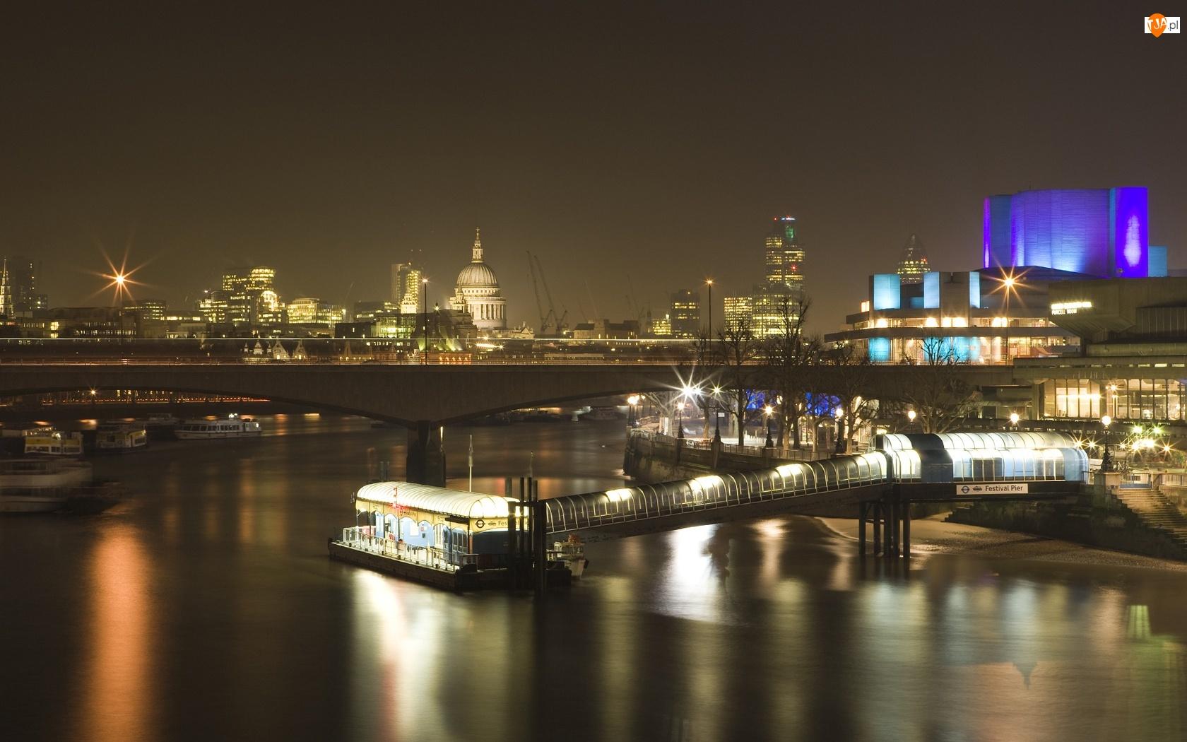 Statek, Miasto, Światła, Nocą, Most