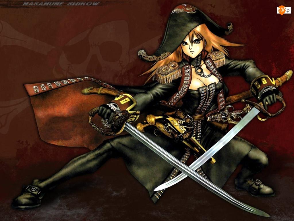 Masamune Shirow, wojownik, miecze, kapelusz