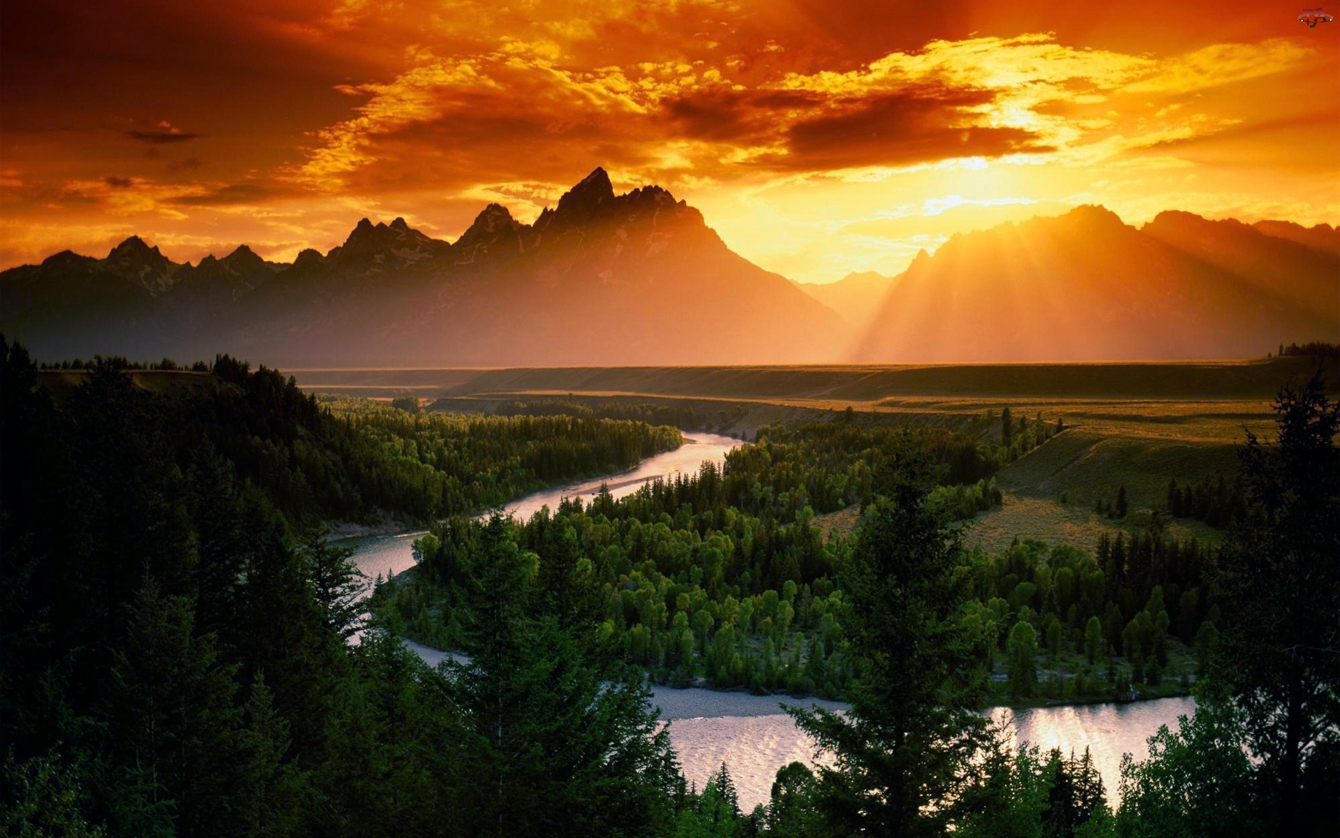 Góry, Zachód, Rzeka, Słońca, Lasy