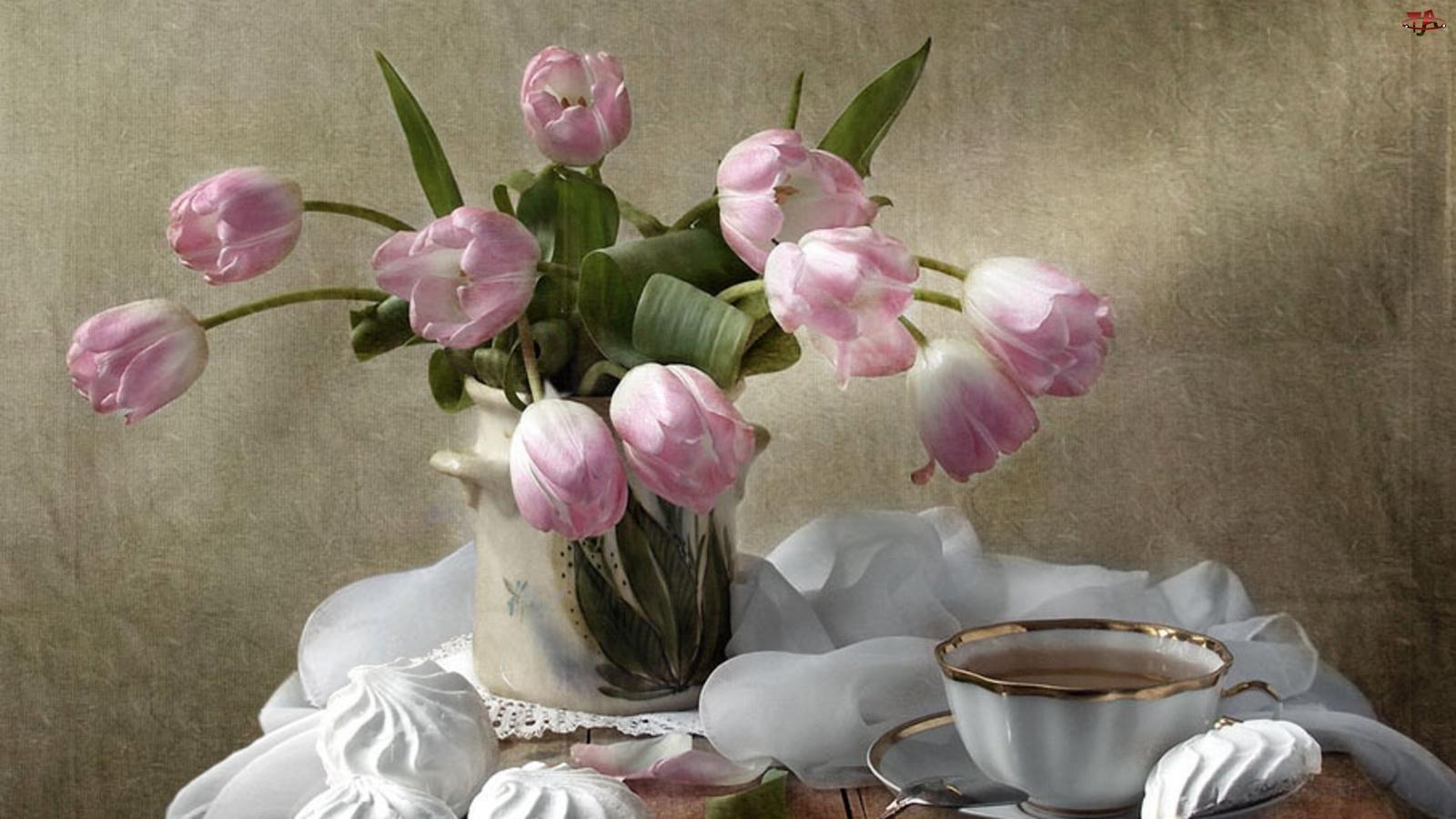 Tulipany, Bezy, Flakon, Filiżanka