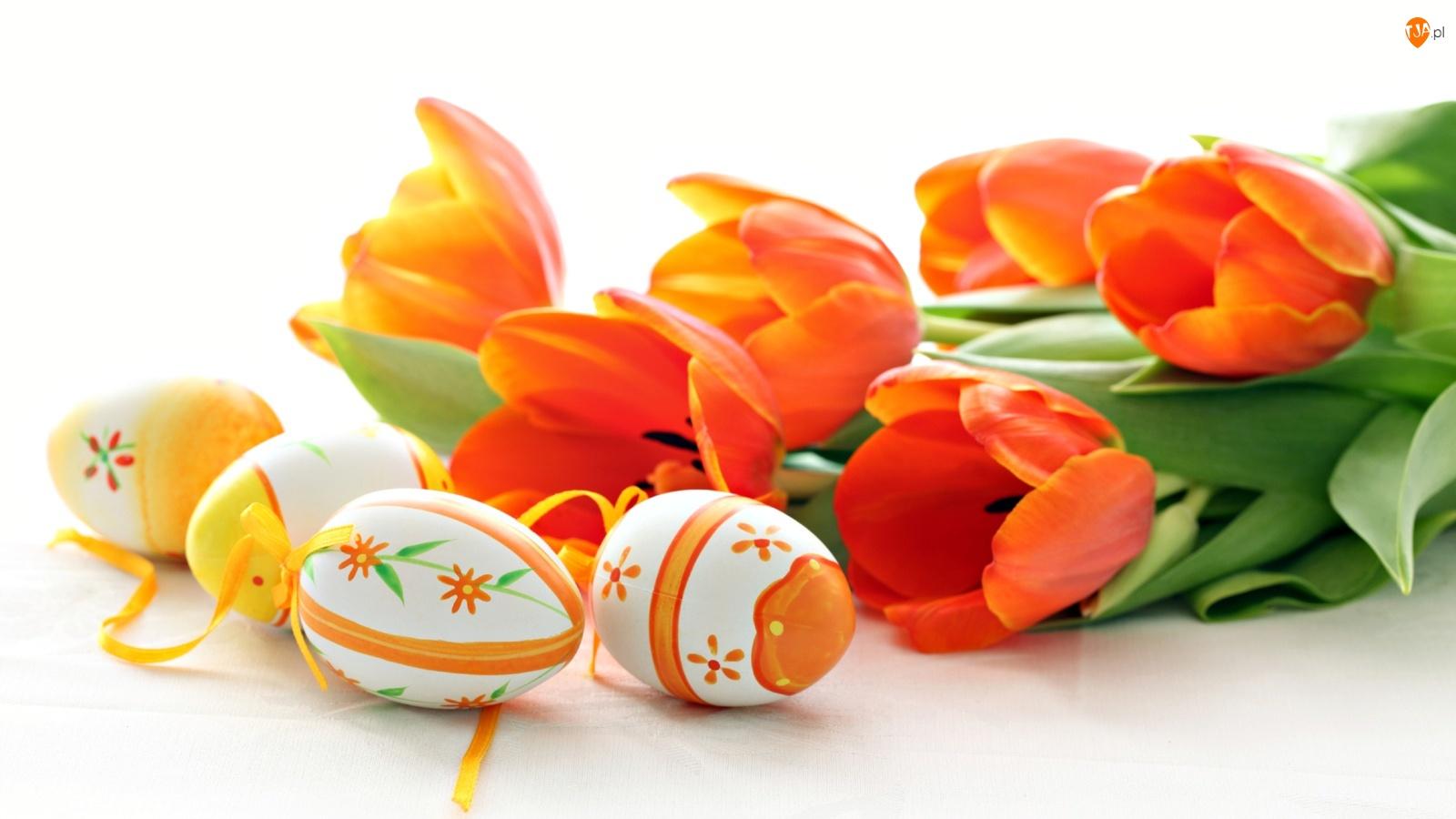Pomarańczowe, Jajka, Tulipany, Wielkanocne