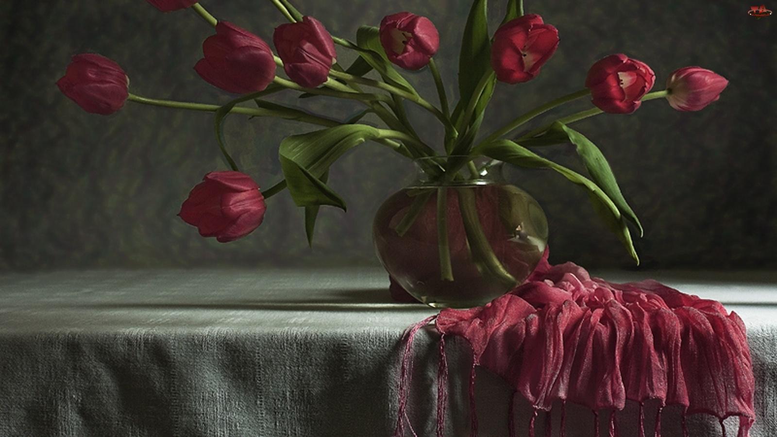 Szal, Bordowe, Tulipany