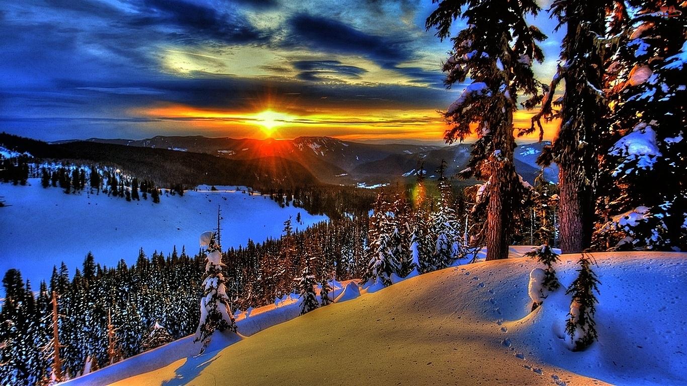 Zima, Zachód, Słońca