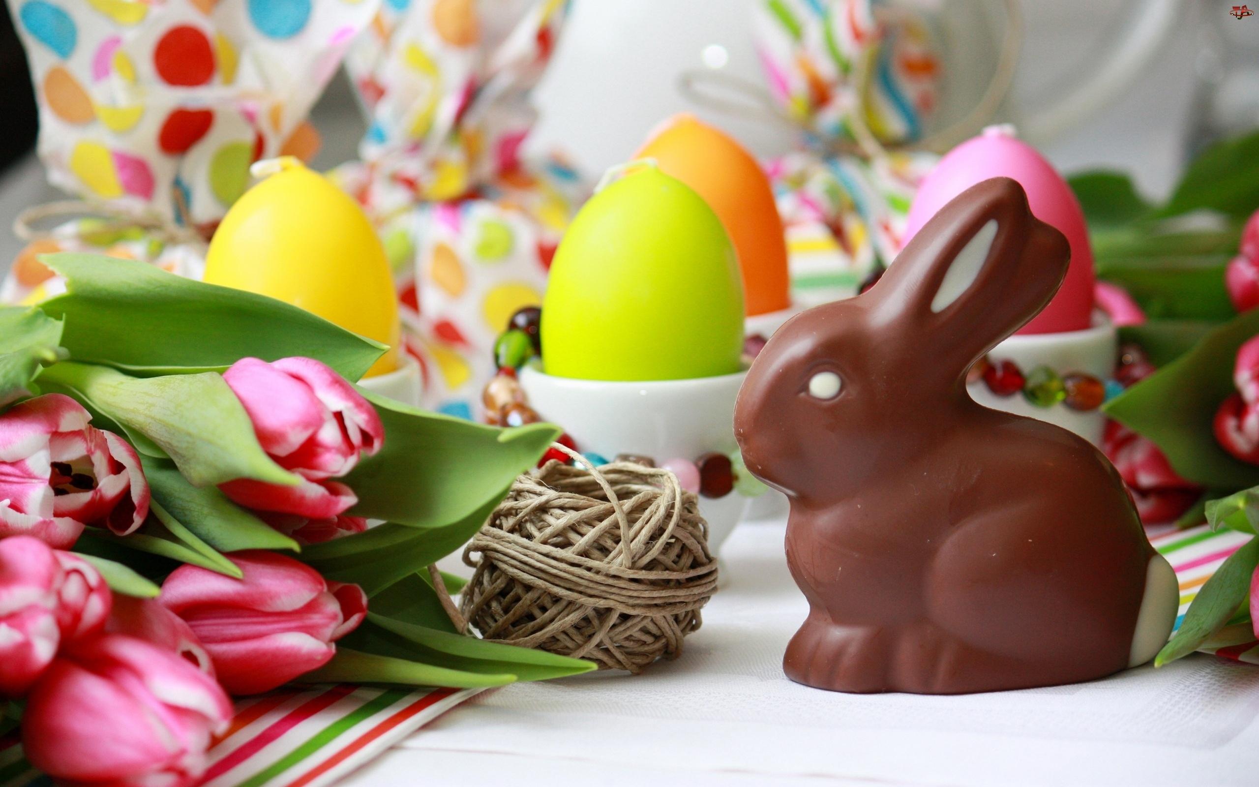 Tulipany, Wielkanocny, Świeczki, Zając, Jajka
