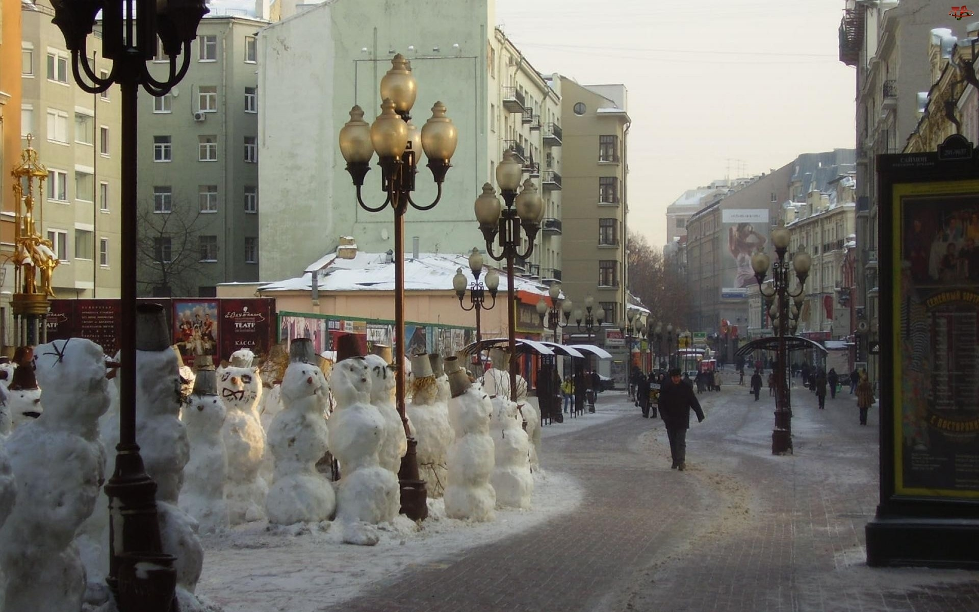 Ulica, Miasto, Latarnie, Bałwanki