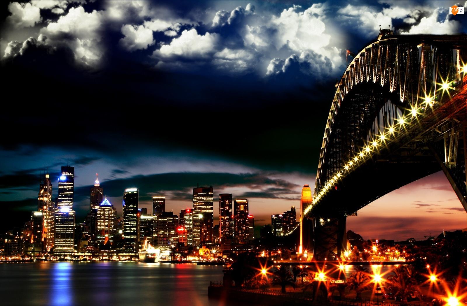 Wysokie, Noc, Rzeka, Światła, Most, Budynki