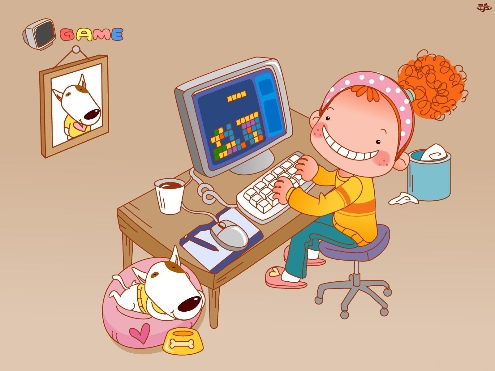 Dziecko, Gra, Pies, Komputer