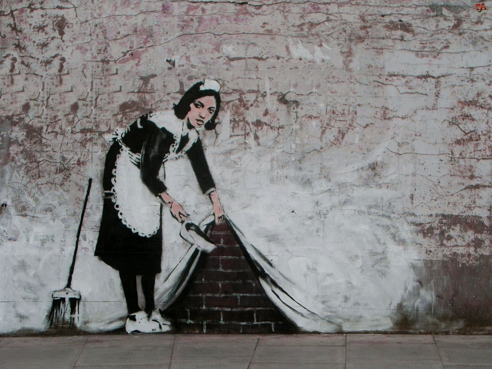 Banksy, Street art, Pokojówka, Sprzątająca, Mural