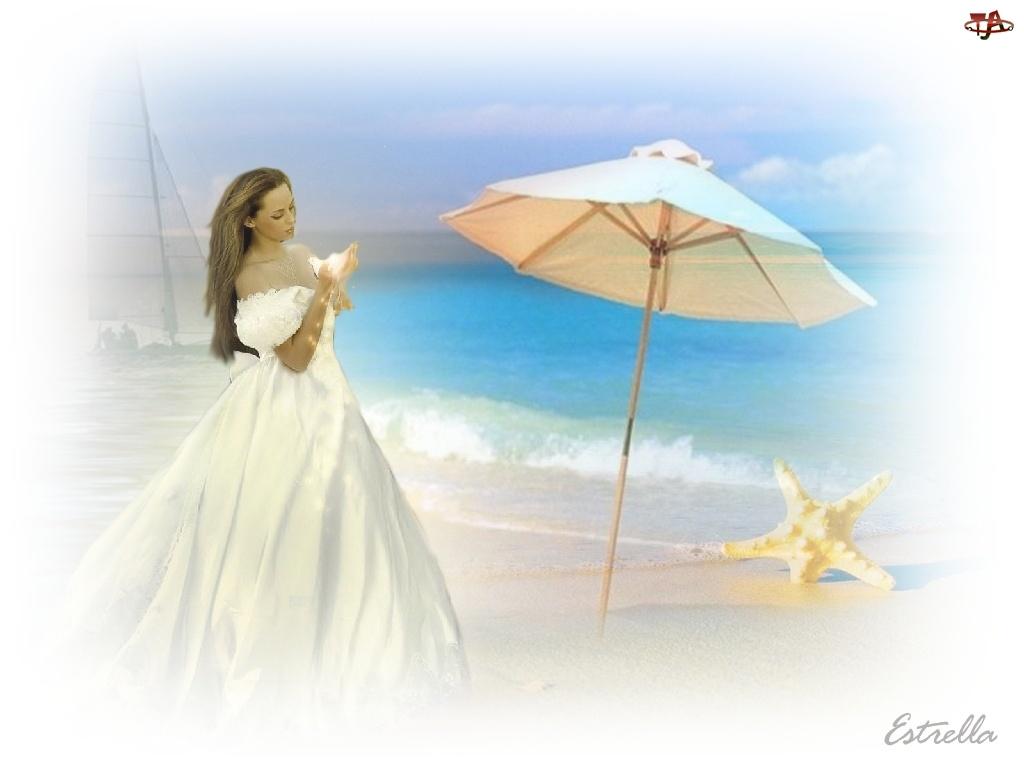 Kobieta, Morze, Parasol, Rozgwiazda