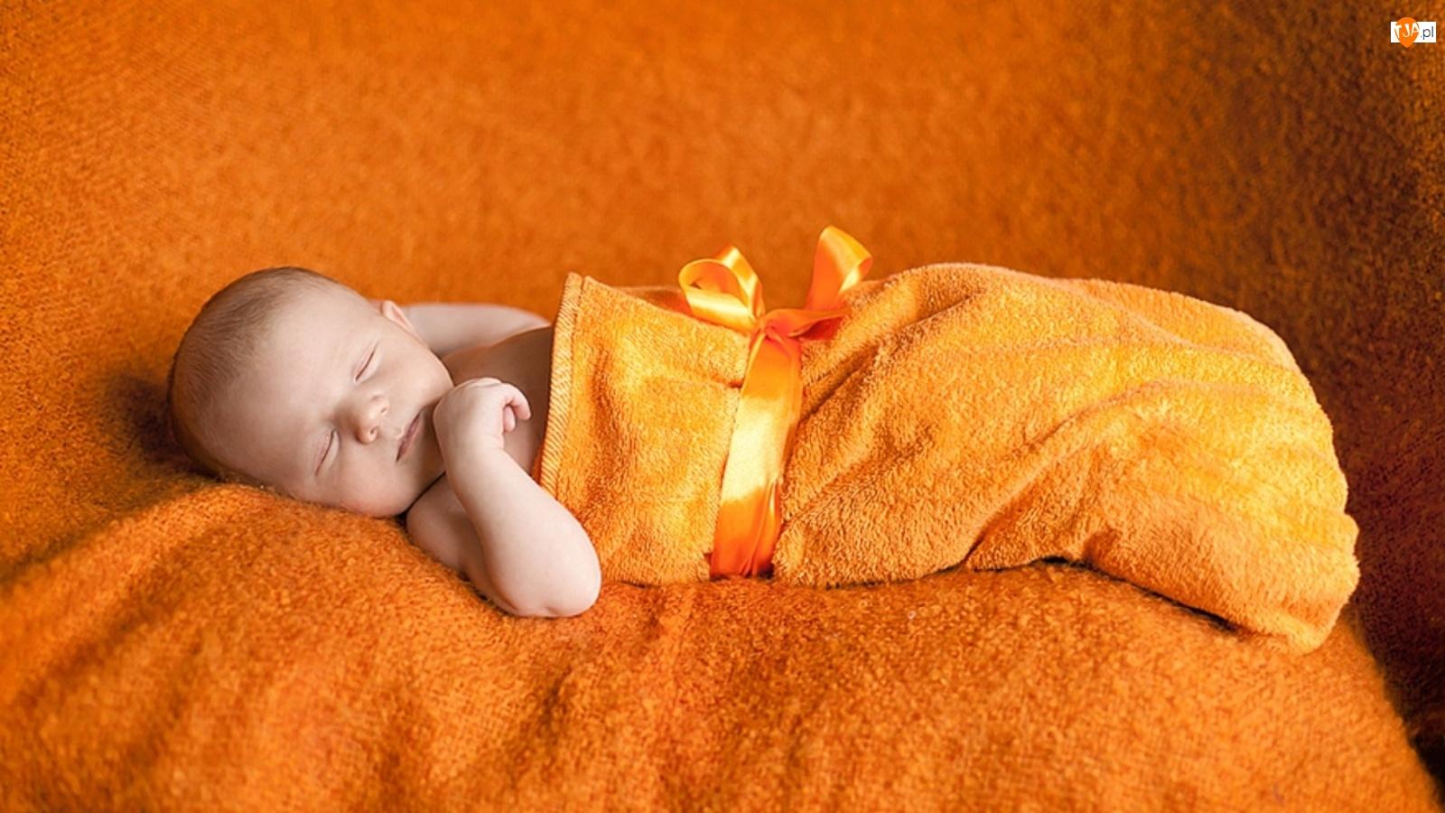 Dziecko, Frotta, Małe, Wstążka, Śpiące, Pomarańczowa