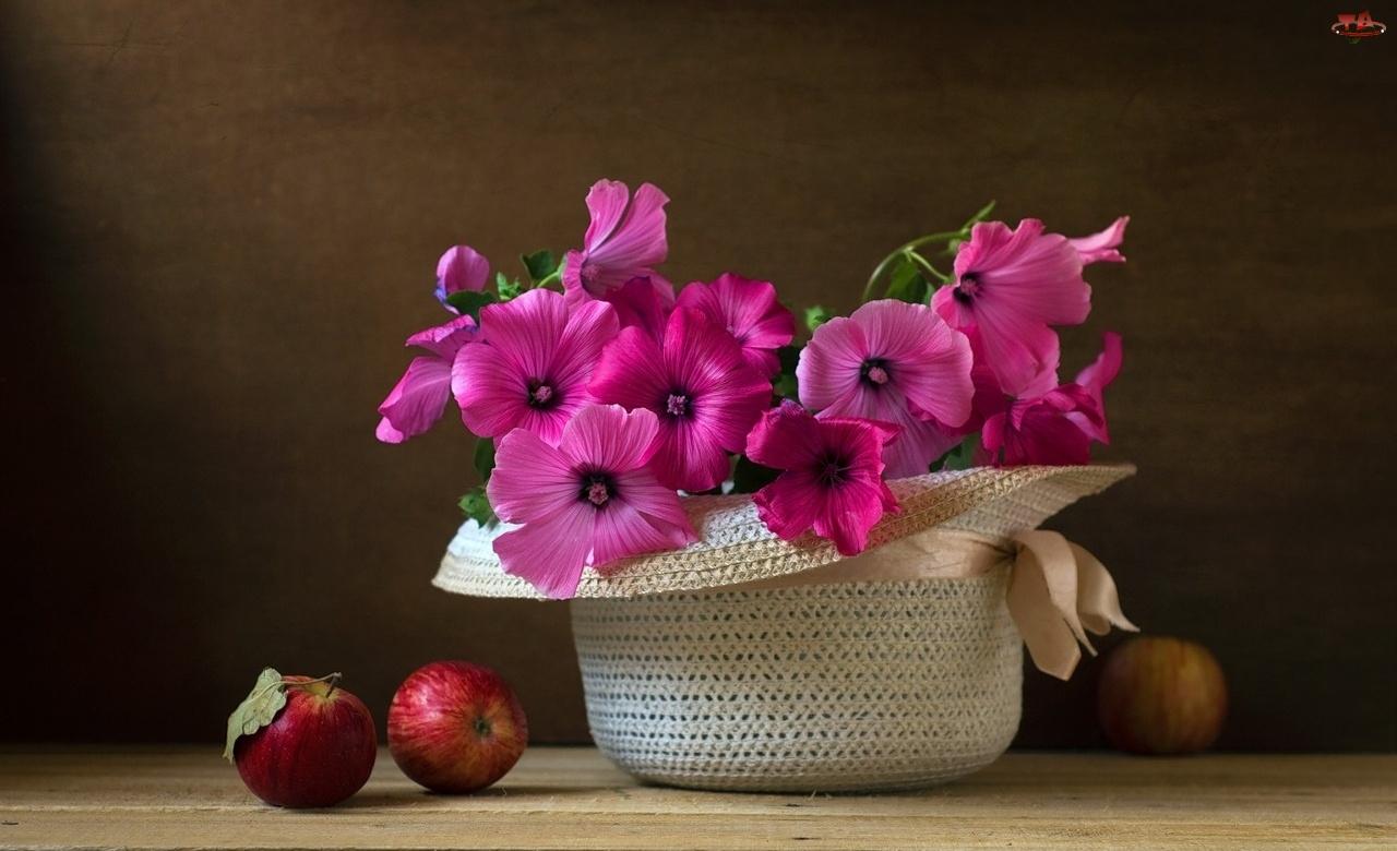 Jabłka, Różowe, Malwa, Kwiaty, Kapelusz