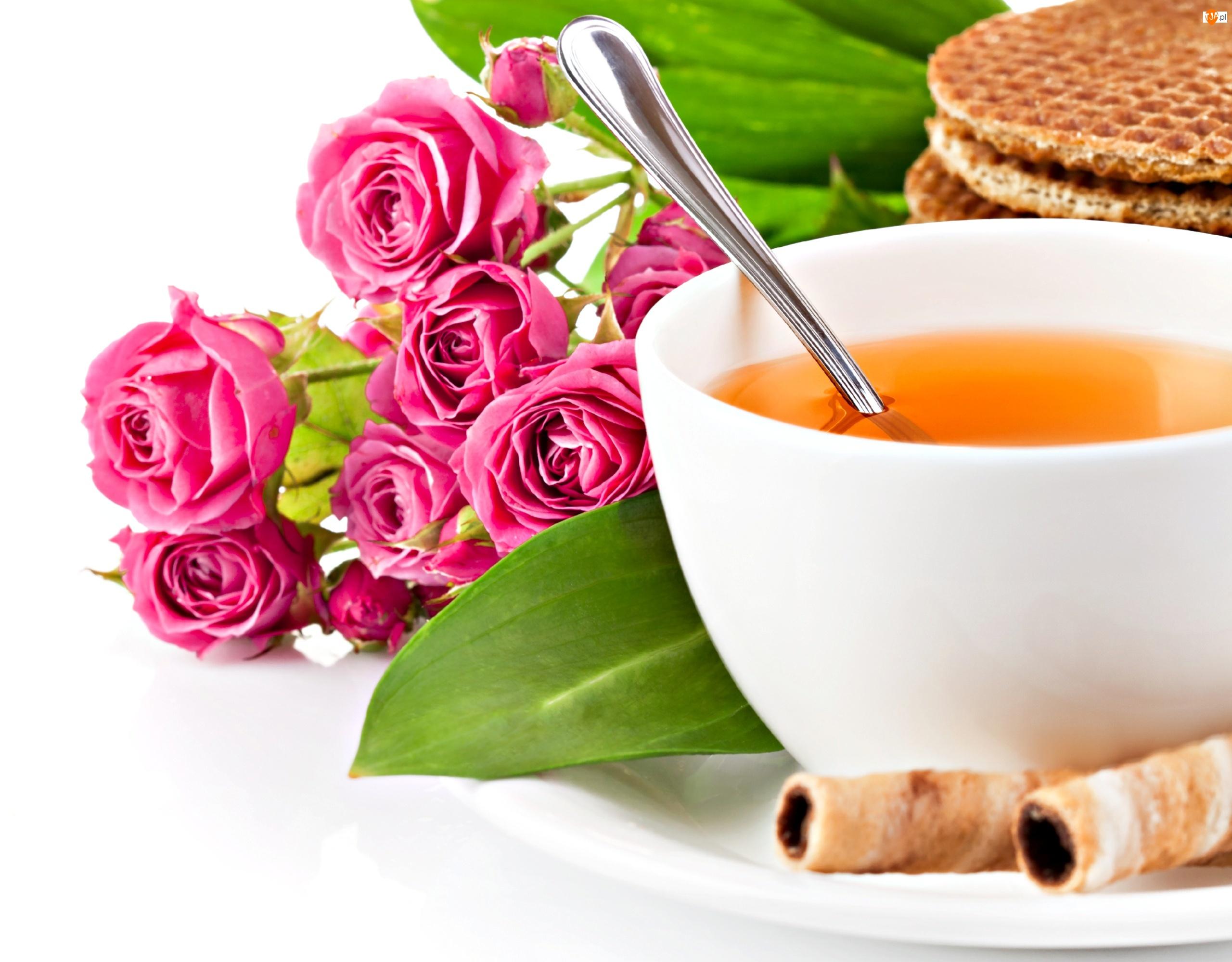 Herbatka, Śniadanie, Ciasteczka, Róże