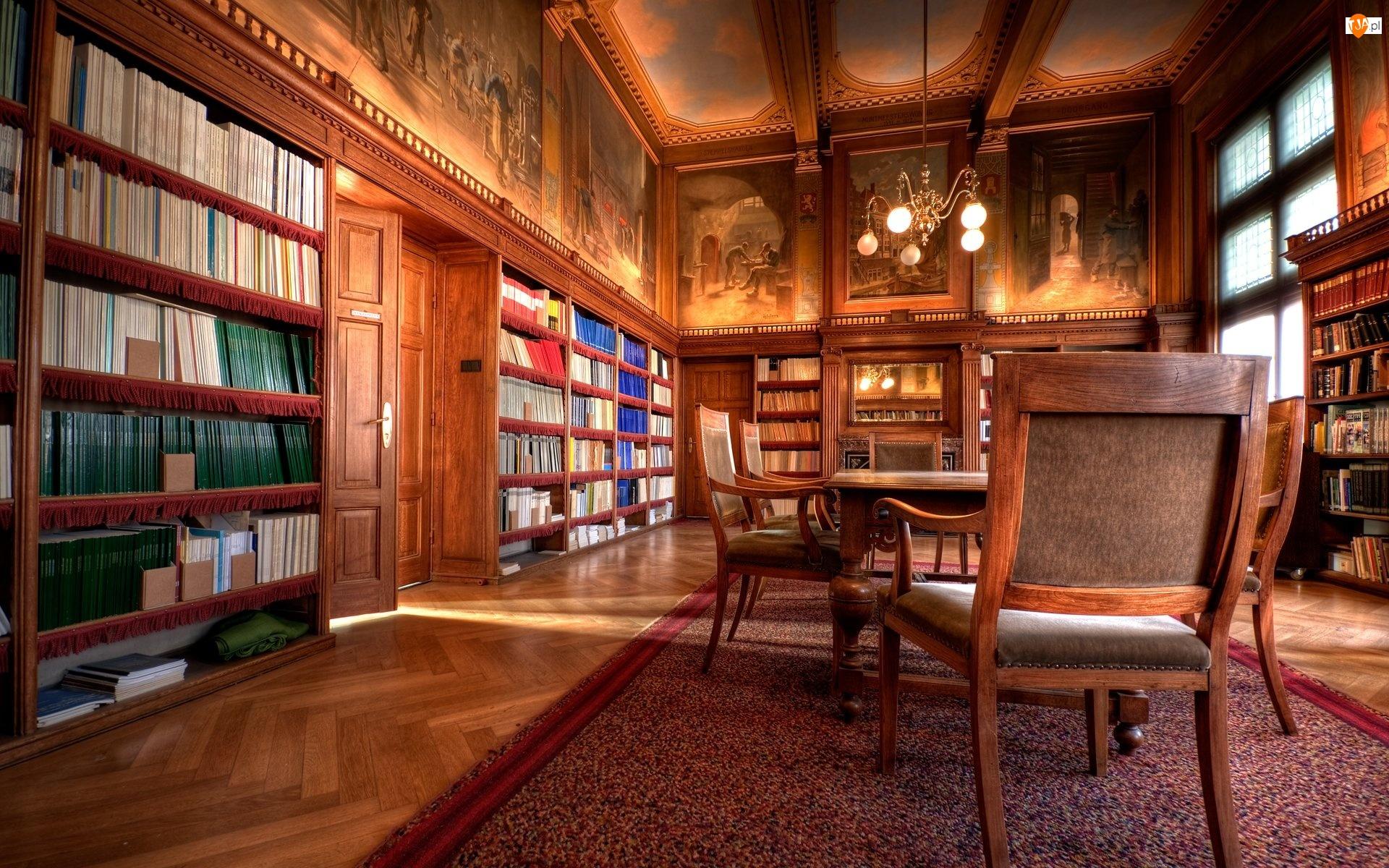 Malowidła, Czytelnia, Książki, Regały, Krzesła