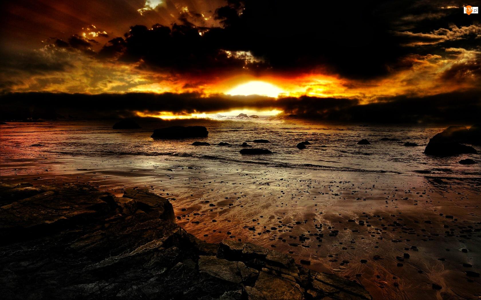 Kamienie, Zachód, Morze, Słońca, Plaża
