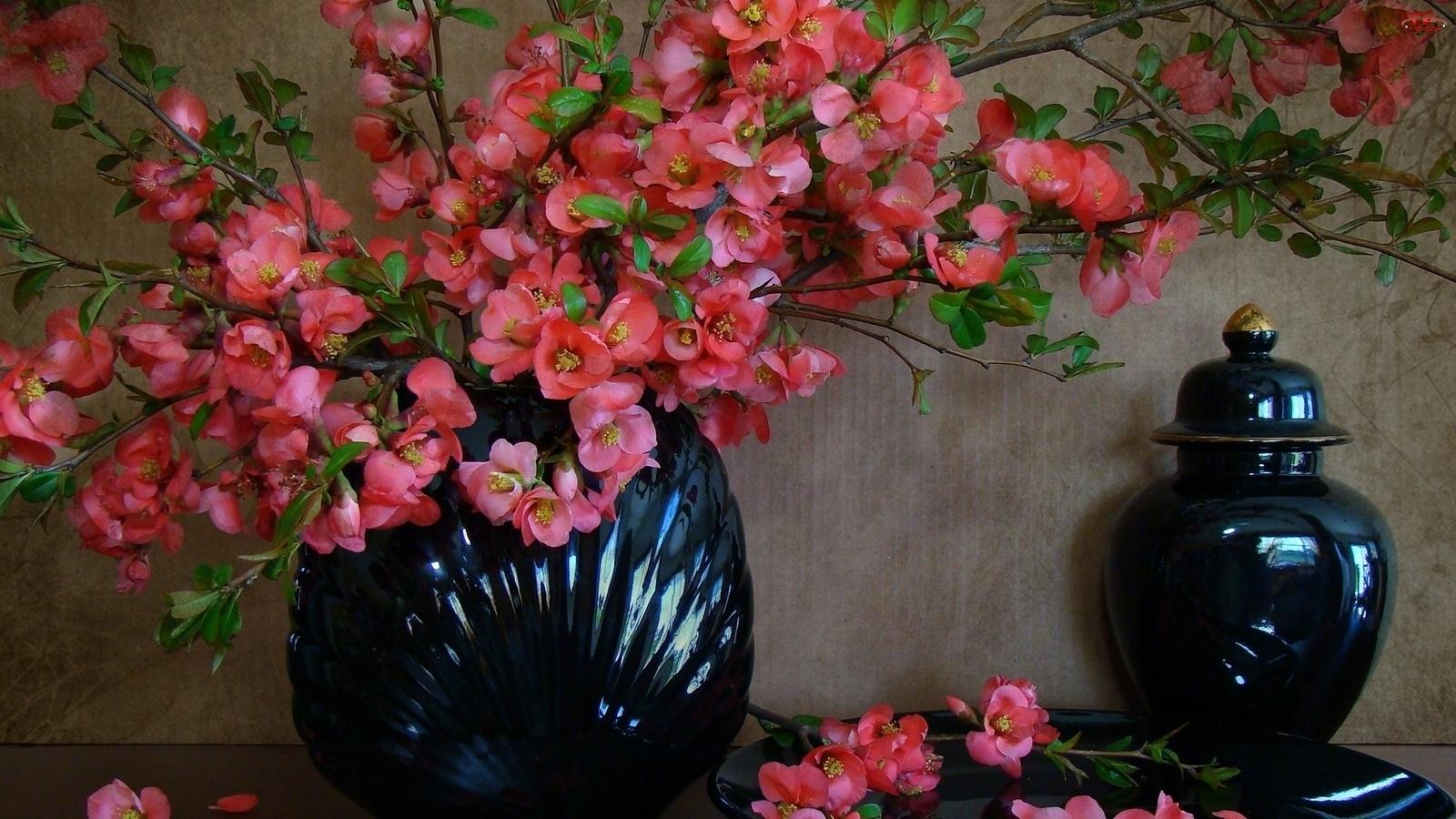 Ceramika, Bukiet, Kwiatów, Różowych, Gałązki